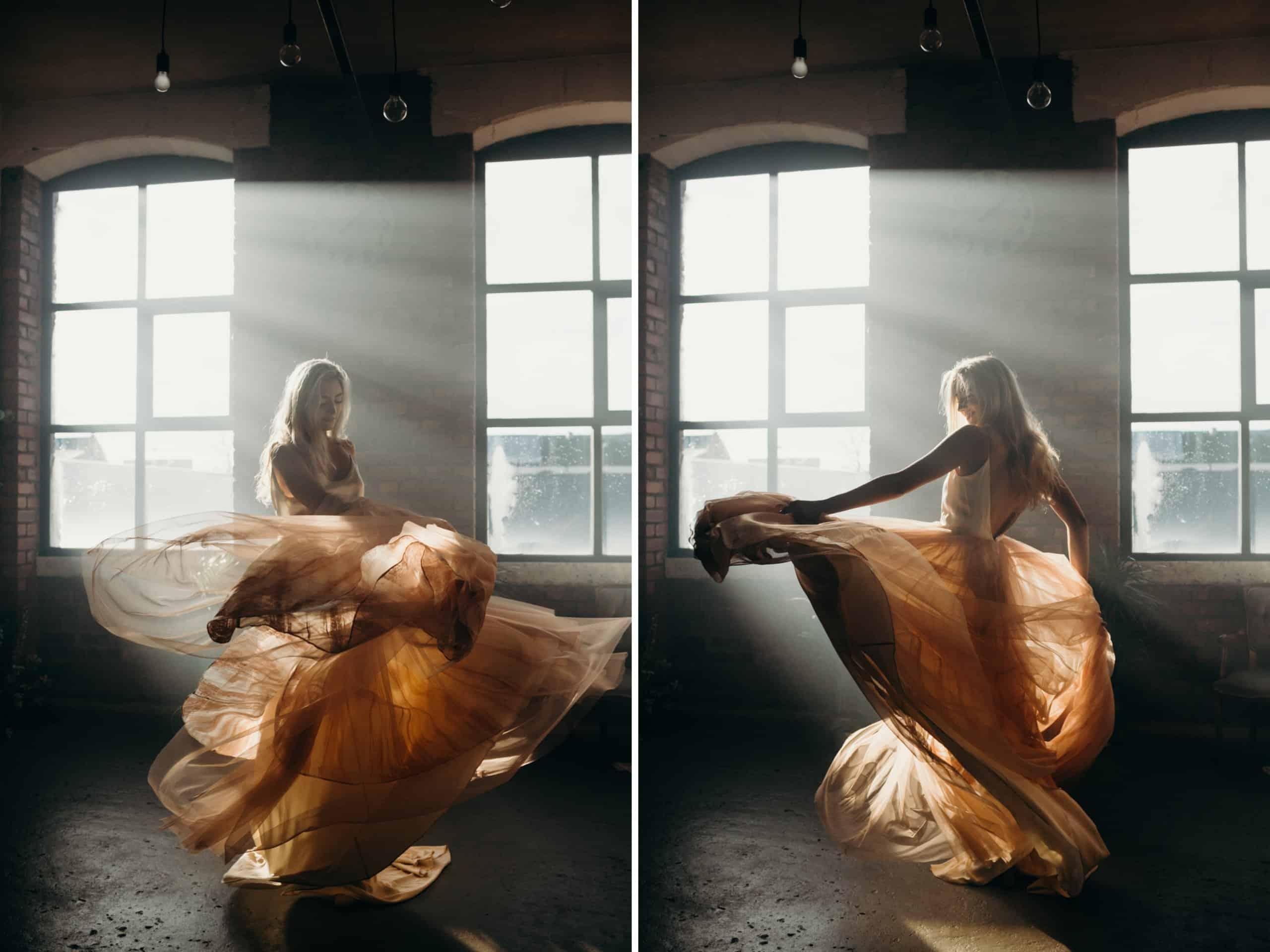 wedding dress girl twirling