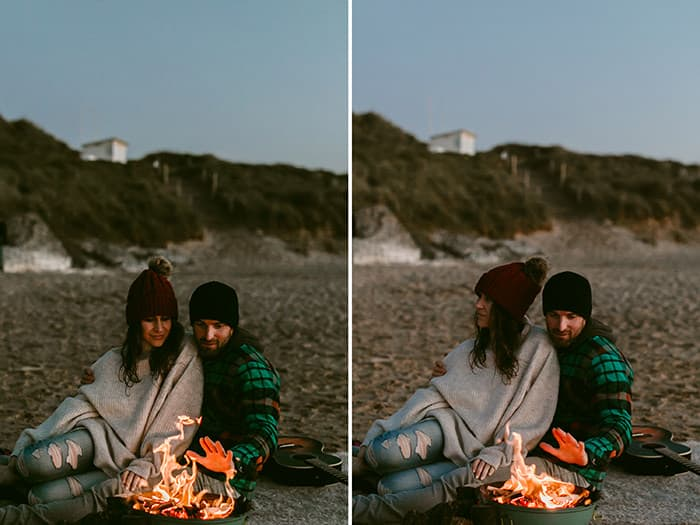 camping couple surf shoot