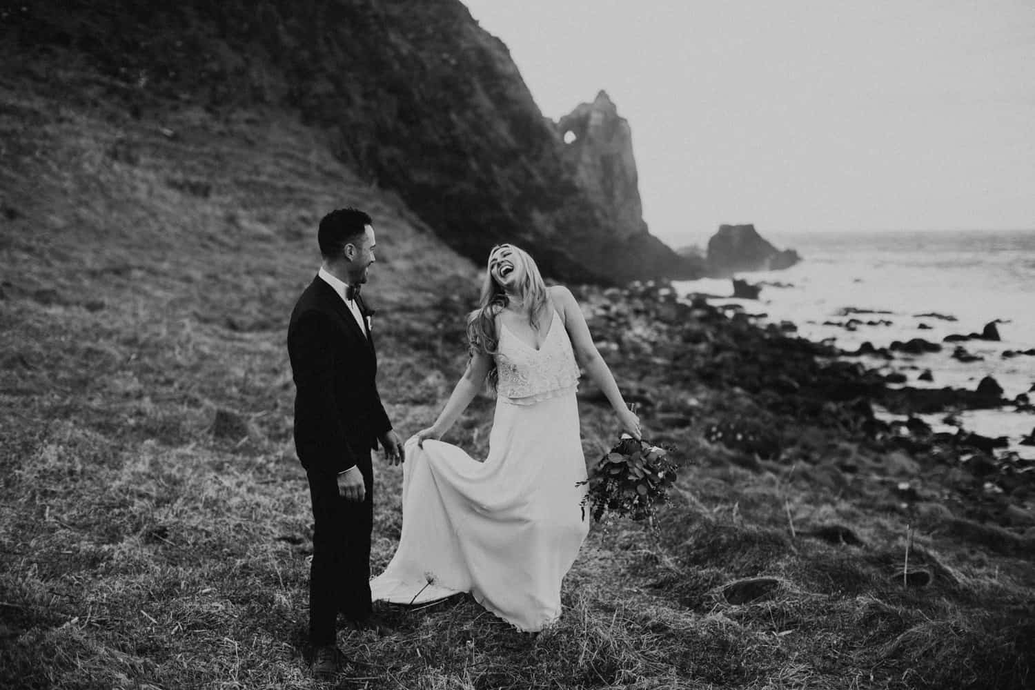 adventurous elopement photographer Northern Ireland Kinbane