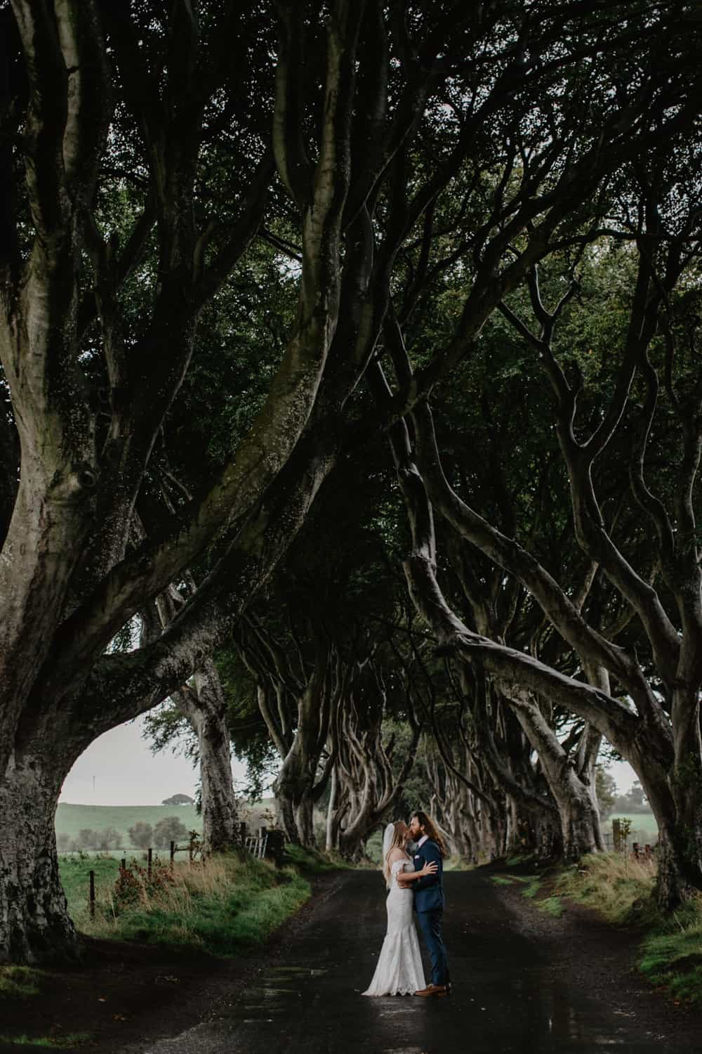 adventurous elopement photographer Northern Ireland dark hedges
