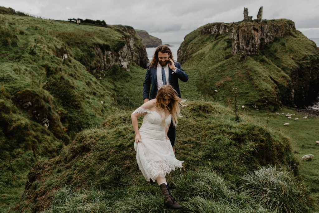 Adventurous elopement photography northern ireland