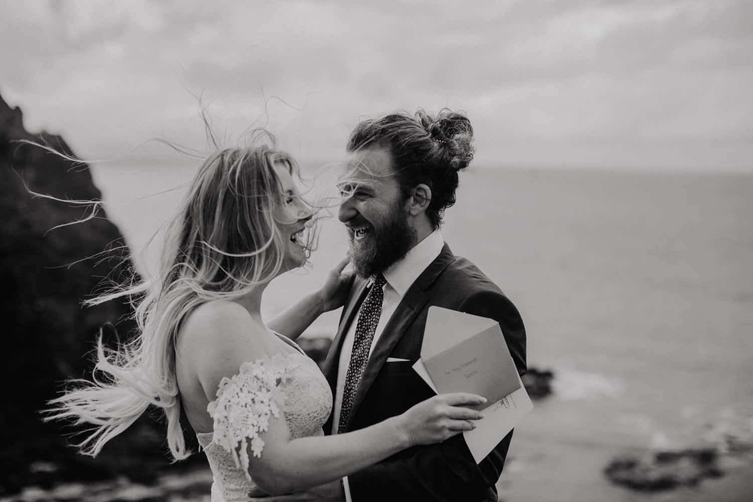 adventurous elopement photographer Northern Ireland Dunluce Castle
