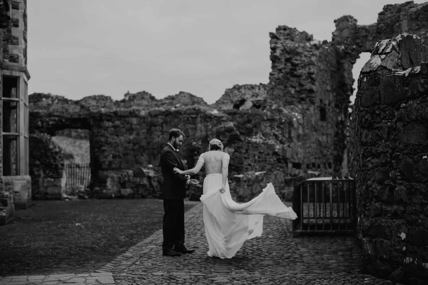 adventure elopement Northern Ireland Dunluce Castle