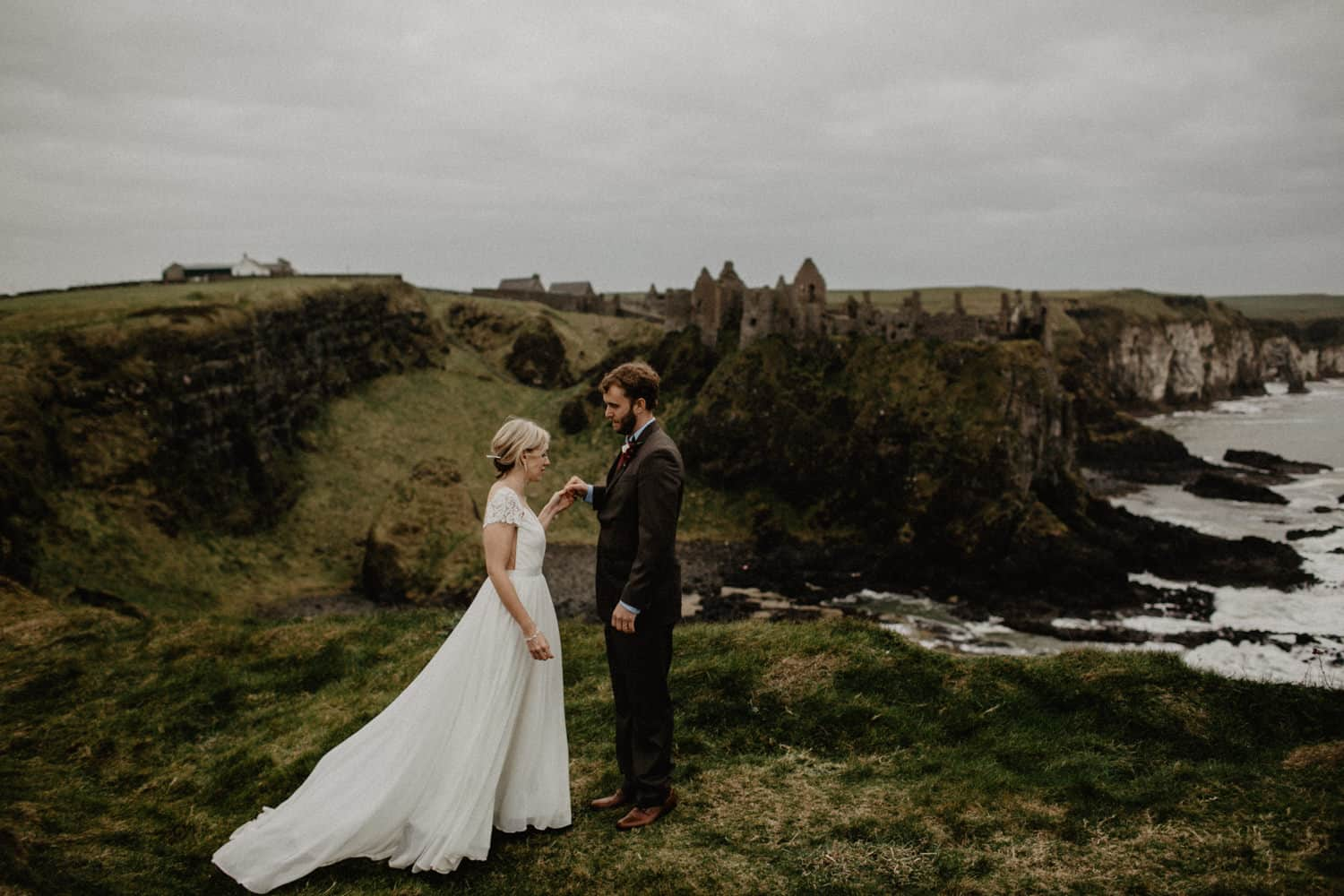 Irish elopement photographer northern ireland Dunluce castle