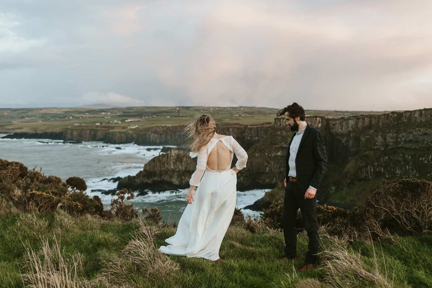 Wedding elopement northern ireland on the coast