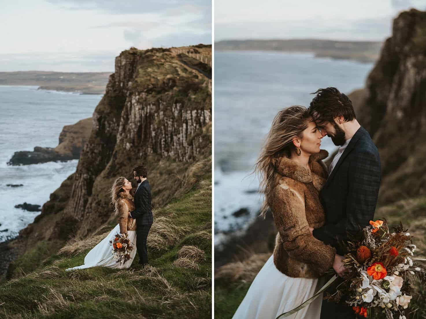 Ireland Elopement Giants Causeway Coast with cliffs